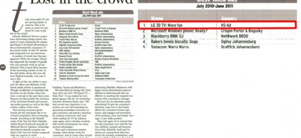 Millward Brown Picks LG CINEMA 3D TV Ads as Best-Liked