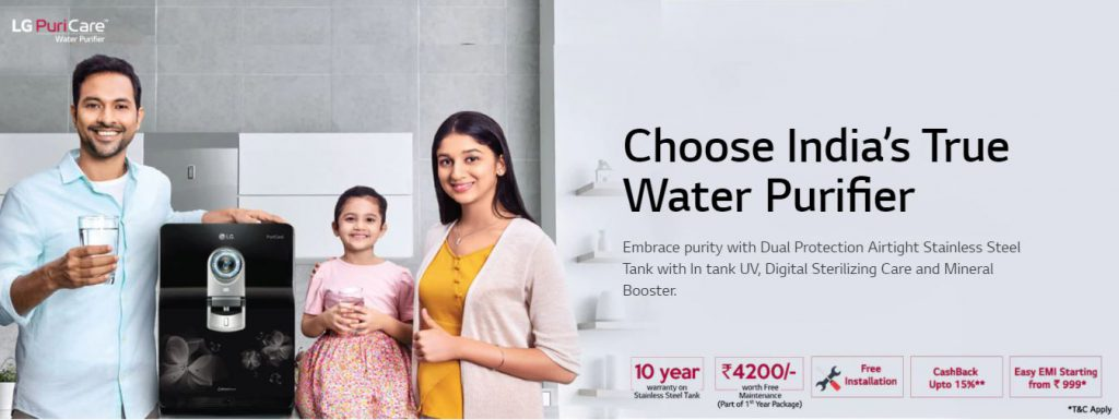 LG Water Purifier with Stainless Steel Tank
